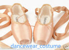 Ladies Girls Satin Ballet Pointe Shoes with Ribbon Dance Toe Shoe US3-9 Nude New