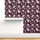 Removable Water-Activated Wallpaper Rustic Vintage Autumn Floral Wine Red Purple