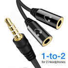 3.5mm Stereo Audio Male To 2 Female Headphone Mic Splitter Cable Cord Adapter B
