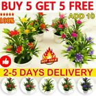 Artificial Plants Flowers Fake Floral Pot Potted Outdoor Home Hotel Office Decor