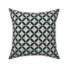 Blossom Circle Retro Mid Throw Pillow Cover w Optional Insert by Roostery