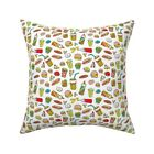 Junk Food Donuts Hamburger Throw Pillow Cover w Optional Insert by Roostery