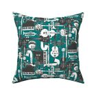 Instruments Blue Retro Throw Pillow Cover w Optional Insert by Roostery