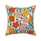 Retro Flowers Limited Palette Throw Pillow Cover w Optional Insert by Roostery