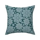 Flowers Winter Blue Mid-Century Throw Pillow Cover w Optional Insert by Roostery