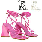 Womens High Heel Sandals Ladies Lace Up Square Toe Shoes Tie Up Straps Size 3-8
