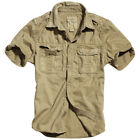 SURPLUS CLASSIC RAW VINTAGE MENS SHORT SLEEVED SHIRT COTTON BEIGE KHAKI S-XXL