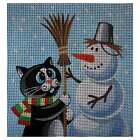 "Needlepoint canvas ""Sweet Cat & Snowman"""