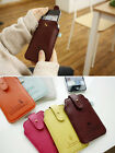 I. iPhone 4 Italian Faux leather Case Pouch +Neck Strap