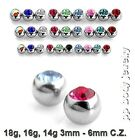 5pcs  18g,16g,14g 3mm to 6mm Steel Bezel Set Threaded Replacement C.Z. Gem Balls