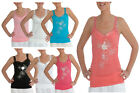 Ladies Diamante Top 6 Colours Sizes 8/10 10/12 12/14