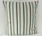 TRENDY NEW TEAL BROWN OATMEAL STRIPED CUSHION COVERS