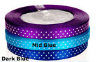 25 Yards Satin Polka Dot Ribbon - 9mm wide - Lilac, Mid Blue and Dark Blue