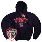 FDNY CLOTHING APPAREL BLUE T SHIRT HOODIE EMBROIDERED