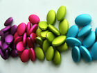10x Rubberized Satin Acrylic Flat Oval Beads 21x14mm