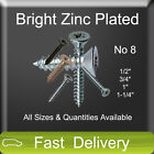 No8 Zinc Plated COUNTERSUNK Self Tapping Screws