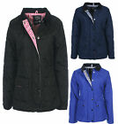 Ladies Padded Quilted Winter Jacket Black Navy Royal Blue Size 8 10 12 14 16