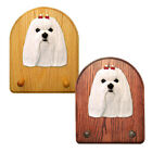 Maltese Dog Figure Key Leash Holder. In Home Decor Wood Products & Dog Gifts.