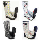 Funky Print Design Festival Wellies Calf Fit Waterproof Weather Wellington Boots