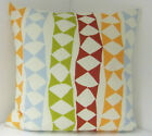 CUSHION COVERS BRAND NEW  60'S DESIGN  DUCK EGG BLUE RED GREEN ORANGE TRIANGLES