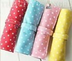 Polker Dots Canvas Roll up Pen Pencil case Cosmetic Painting Pouch Button Up