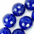 """12mm Faceted Blue Jade Round Beads 15.5"""""""