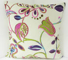 NEW SINGLE CUSHION COVERS PURPLE GREEN  BLUE FLOWERS LEAVES RETRO 60s STYLE
