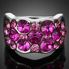 Ladies Fuschia Rhinestone Pink Gemstone Cocktail Party Rings Swarovski Crystal