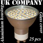 25 x GU10 - 60 SMD LED + glass cover  WARM / DAY WHITE Replaces 60 W