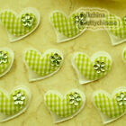Green Gingham Heart Felt Appliques Padded Craft Sewing Scrapbooking Trim APQA