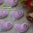 Pink Gingham Heart Felt Appliques Padded Craft Sewing Scrapbooking Trim New