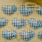 Blue Gingham Heart Lace Appliques Padded Craft Sewing Scrapbooking Trim APQB