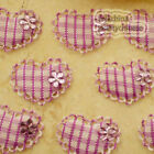 Purple Gingham Heart Lace Appliques Padded Craft Sewing Scrapbooking Trim New
