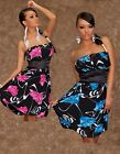 WOMENS LADIES FLORAL BANDEAU PARTY COCKTAIL HOLIDAY EVENING DRESS  SIZE 8 -18