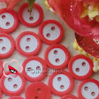 Red 2 Holes 11mm Plastic Buttons Sewing Craft Scrapbooking PCB-B03