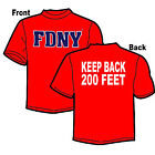 FDNY Keep Back 200 Feet Red Tee T-Shirt (Officially Licensed) - NYC Firestore