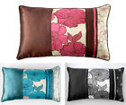New Poppy Cushion Cover With Taffeta Applique 30 x 50 cm, Teal Red Black