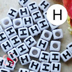 """H"" White Square Alphabet Letter Acrylic Plastic 6mm Beads 37C9308-h"