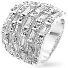 "Band Silver-tone Rhodium Plated Ring-10ctw CZ's approx.11g-3/4""L-Size Selectable"