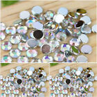 Clear AB 1-8mm flat back round diamante rhinestone gems-nail art/cards/Scrapbook