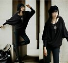 New women black loose long sleeve Tops shirt blouse plus size 12-22 hot cotton