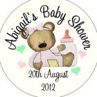 Personalised Baby Shower Circular Stickers Labels - Favours - Cute Bear Pink