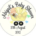 Personalised Baby Shower Circular Stickers Labels - Favours - Yellow Baby Pram