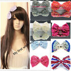 Ladies Fashion Hair Bow Clip Beaded Crystal Dancing Party Kids Bag Clip Girl's