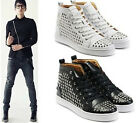 MENS LACE UP MID-TOP SNEAKERS WITH SLIVER METAL SPIKE STUDDED SHOES US6-10####