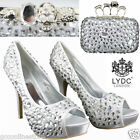 LYDC Designer Silver Diamante Gem Crystal High Heel Shoes Maching Evening Bag