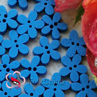 Blue Flower 11mm Wood Buttons Sewing Scrapbooking Cardmaking Craft NCB046-7