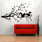 SQUIRRELS ON A TREE Branch Wall Art Sticker Graphic Vinyl Decal Gift Love Hearts