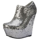Women Silver Shimmer Sequined Wedge Heel Ladies Ankle Boots Party Shoes Size 3-8
