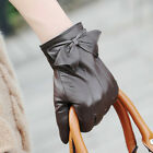 3 color- Classic Italian geniune lambskin leather lined gloves w/ bow